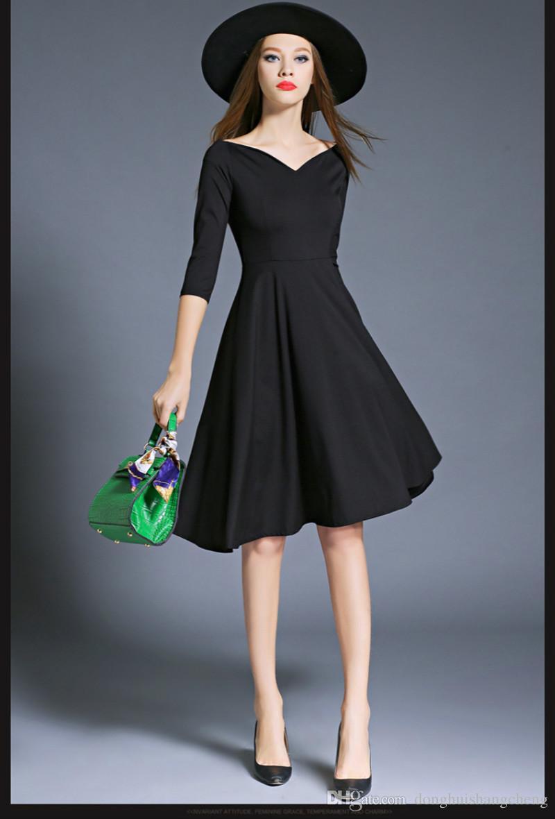 Großhandel Frauen Art Und Weisesymetrisches Damen Kleid Normallack ...