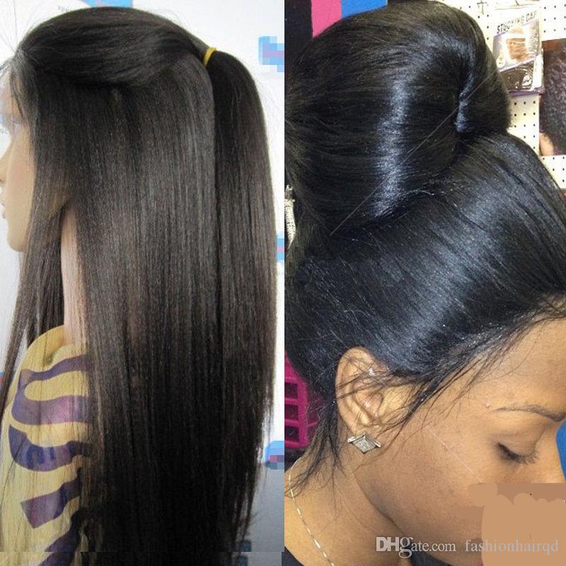 Lumière Yaki Full Lace Perruques Pour Femmes Noires Brésilienne Vierge de Cheveux Humains Sans Colle Avant de Lacet Perruques Avec Bébé Cheveux Naturel Hairline 8-24 pouces