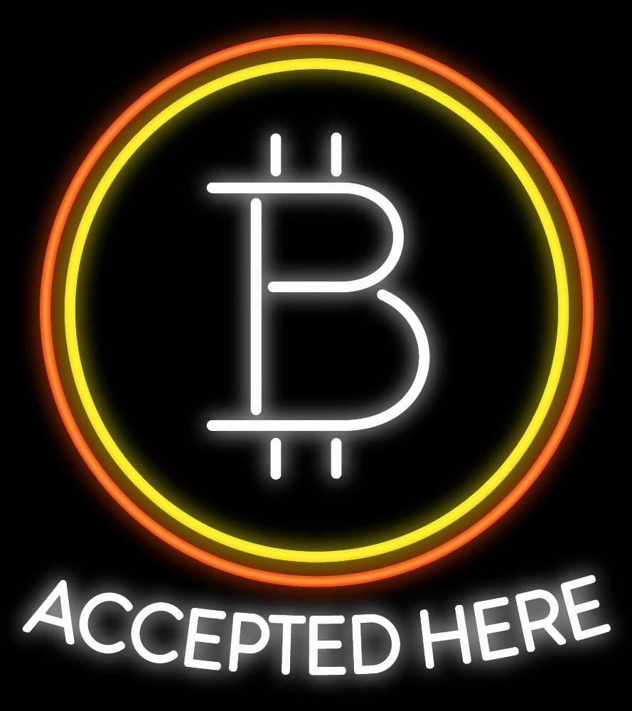 Großhandel Bitcoin Akzeptiert Hier Leuchtreklame Benutzerdefinierte ...