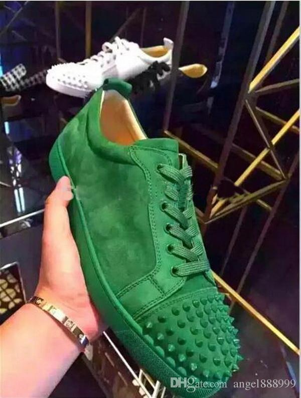 e0f7996e2241 New Green Red Black Blue Suede Leather Low Top Shoes Fashion Rivets Spikes  Men Women Red Bottom Sneakers Lace Up Casual Shoes Wedges Shoes Black Shoes  From ...