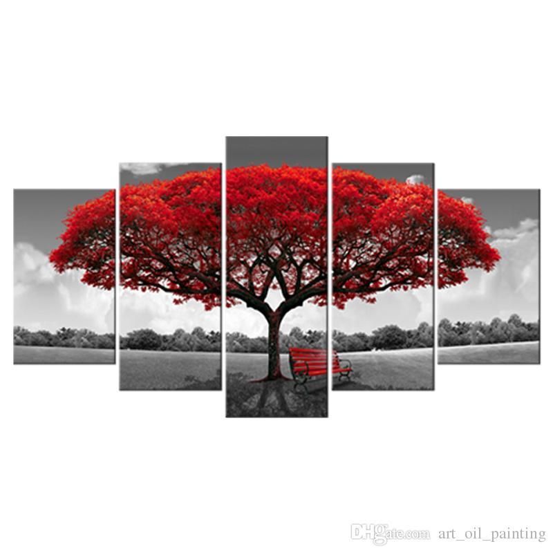 5 Pannelli Albero rosso Tela Pittura Fiori Arte della parete Paesaggio Opera d'arte Stampa su tela Pronto Hany la decorazione della parete della casa Cornice in legno