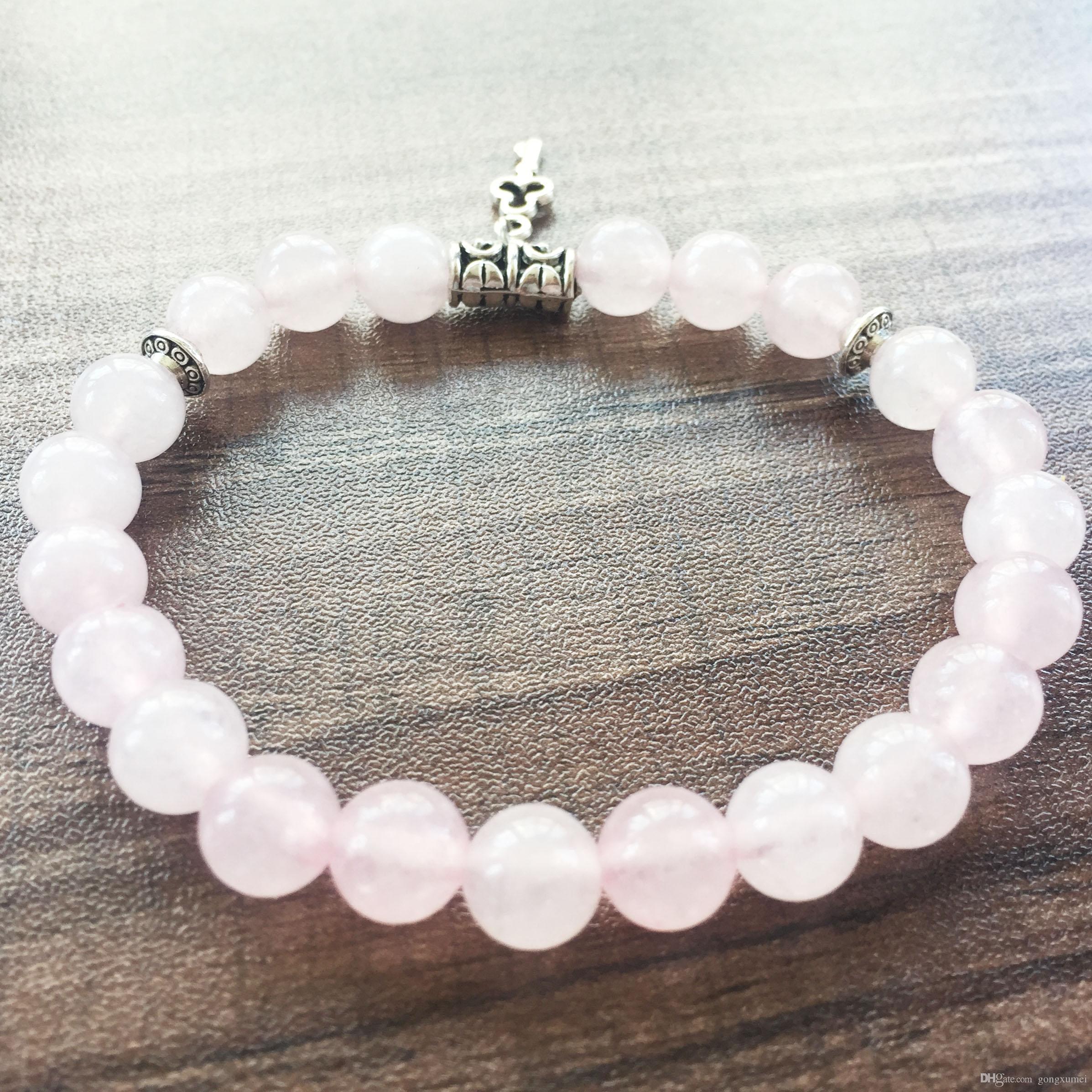 Мала бусины браслеты натуральный камень 8 мм розовый кварц браслет круглый Браслет из бисера любовь ключ кулон йога молитва браслеты