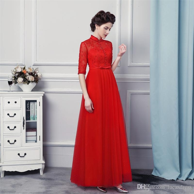 Custom Made Real Image Red Color Half Sleeve High Neck Evening ...