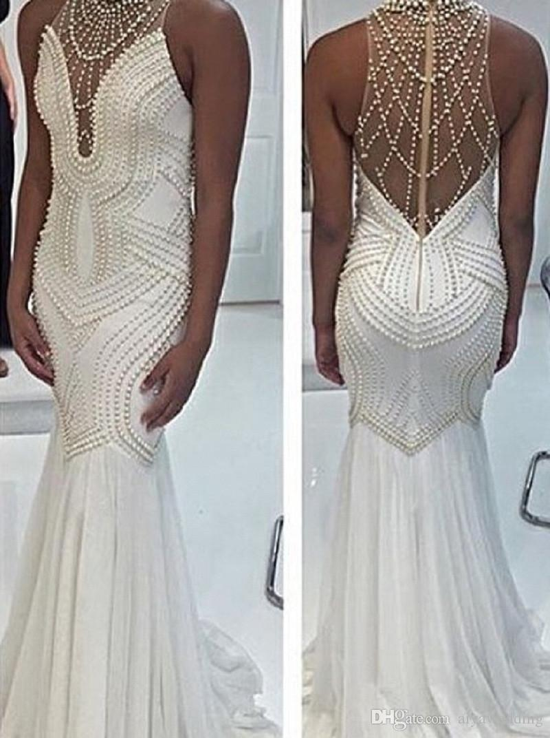 Designer Mermaid Beading Pearl Evening Dresses 2018 New Fashion Floor Length Long Tight Prom Gown