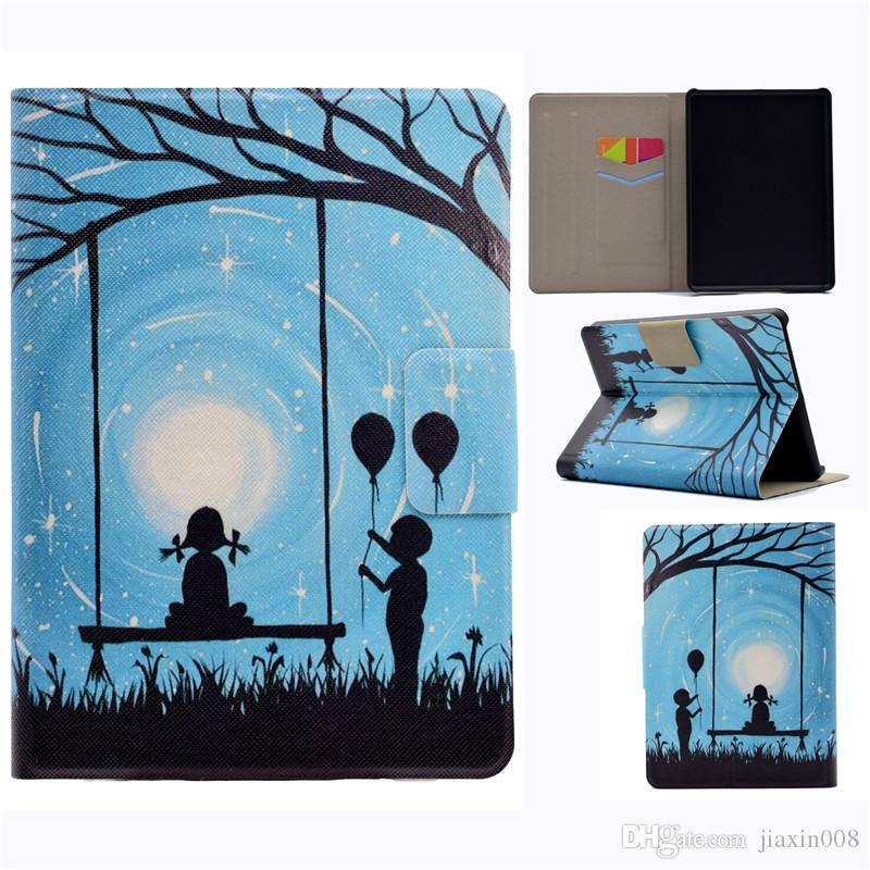 PU Leather Tablet Case For New Kindle 2016 Cover Filp Stand Painting Wind chime Love balloon Dormancy Sleep Wake Function Desgin