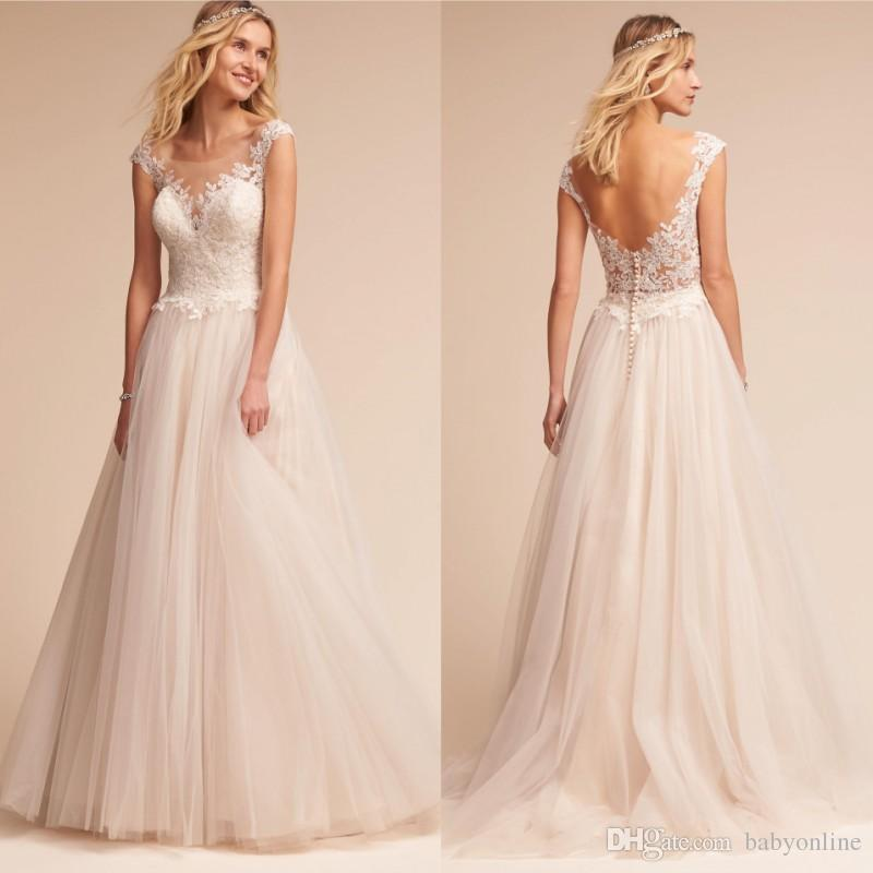 Discount romantic fairy country garden wedding dresses 2018 new discount romantic fairy country garden wedding dresses 2018 new designed a line backless floor length tulle bridal gowns with buttons back sheer affordable junglespirit Choice Image