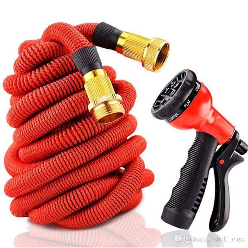 50FT Expandable Flexible Hose Garden Watering Pipe With Spray Nozzle Metal Connector Natural Latex Washing Car Pet Hoses US EU version