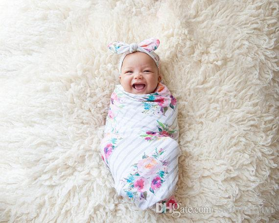 Baby swaddle blanket and rabbit ear headband set newborn floral printed photography props babies stripe muslin swaddle wrap R0132