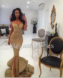 Yeni Tasarımcı 2021 Mermaid Altın Balo Elbise Ile Yarık Dantel Aplikler Aç Geri Sequins Abiye Cevaplar Pageant Abiye Bling Ön