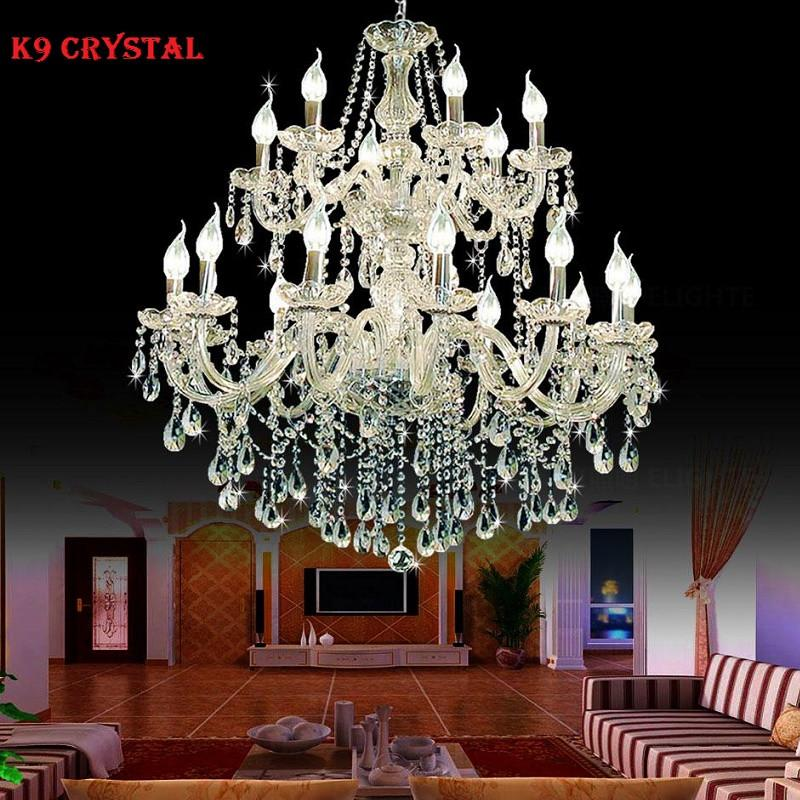 Large foyer modern chandelier Stair Long candle crystal chandelier Fixture Staircase lighting stairs Long hanging chandelier