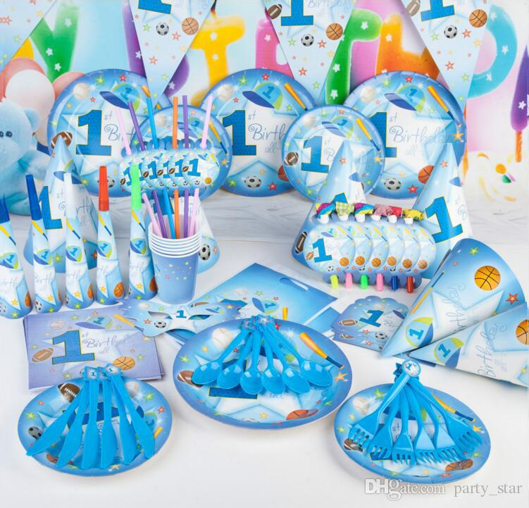 Sports Boy Series Birthday Party Props Children Mask Blowout Flag Mask Cup Cap Supplies Birthday Party Decoration Set