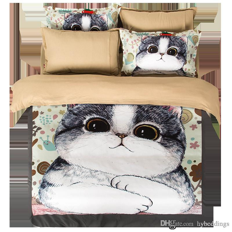 Fat Cat Animal Bedding Set Grey Duvet Cover Bed Sheet Sets Double Queen King Size Bedding