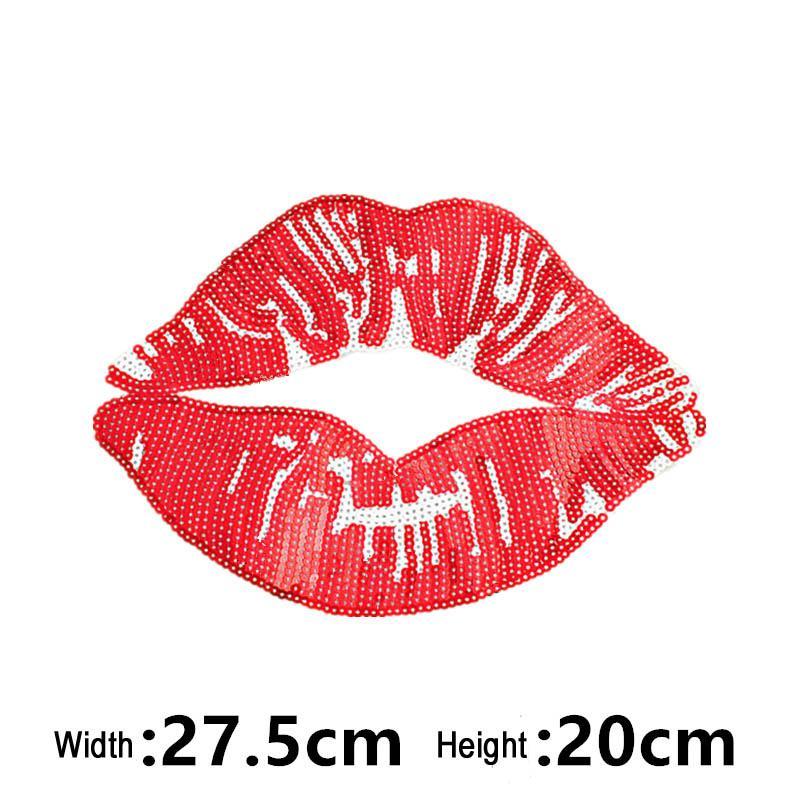 Große pailletten patch tuch mode kleidung T-shirt dekorative tuch bestickt perlen sexy rote lippen mund patches