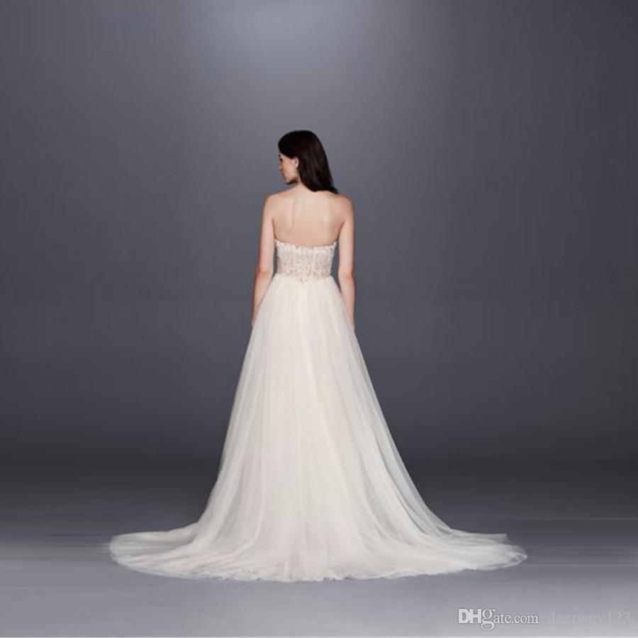 Новый! Без бретелек свадебное платье с тюль щелевая юбка Sheer топ лиф аппликации бисером сексуальные свадебные платья vestido де noiva SWG764