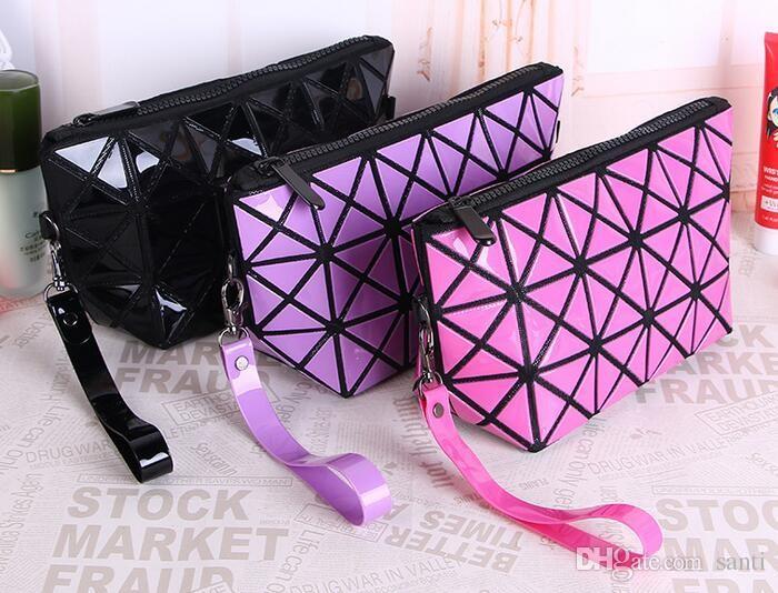 Geométrica Zipper Cosmetic Bag Mulheres Laser Flash De Diamante Saco De Maquiagem De Couro Senhoras Cosméticos Organizador