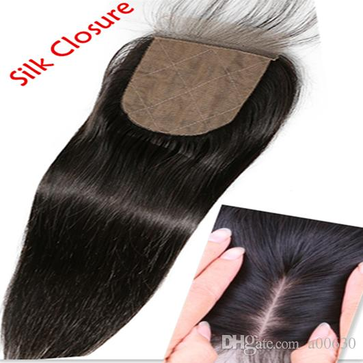 8A Brazilian virgin hair Human Hair Straight Silk Base Closures Bleached Knots Unprocessed Hair Silk closure Products silk top sillk closure