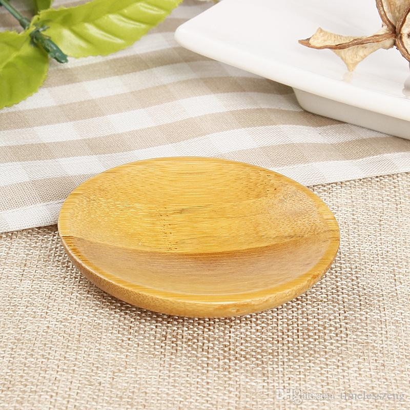 Creativity natural bamboo small round dishes Rural amorous feelings wooden sauce and vinegar plates Tableware plates tray