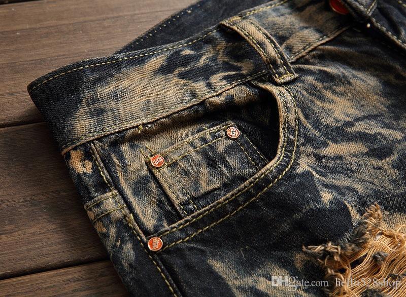 Retro Klasik Jeans Erkek Arası Delikler Eski Stil Düz Pantolon Erkekler için Özel Kişilik Yırtık