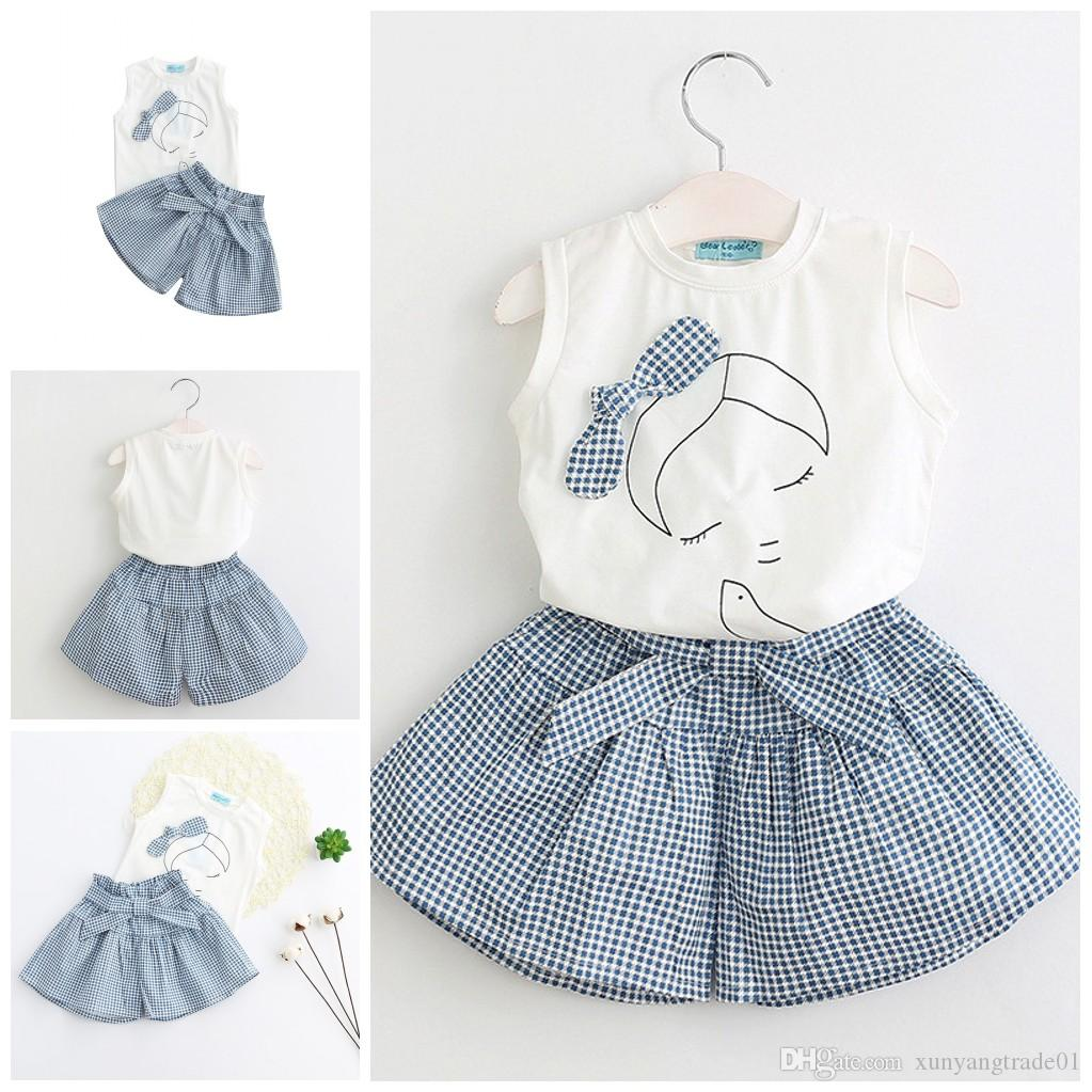 Girls Dress 2017 Summer Skirt Set 2PCS Baby Clothes White Sleeveless Bowknot T-shirts Tops Striated Pantskirt Kids Clothing XY502