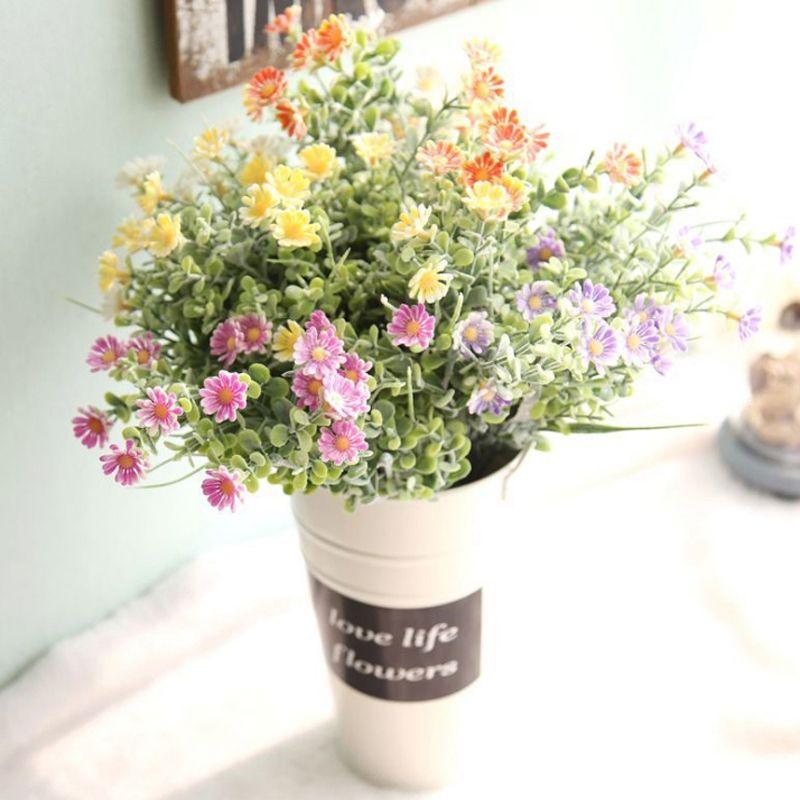 UBIZ latex flowers organza Daisy silk flower silicone centerpieces plantas artificiales para decoracion hogar ramo flores seda fleur