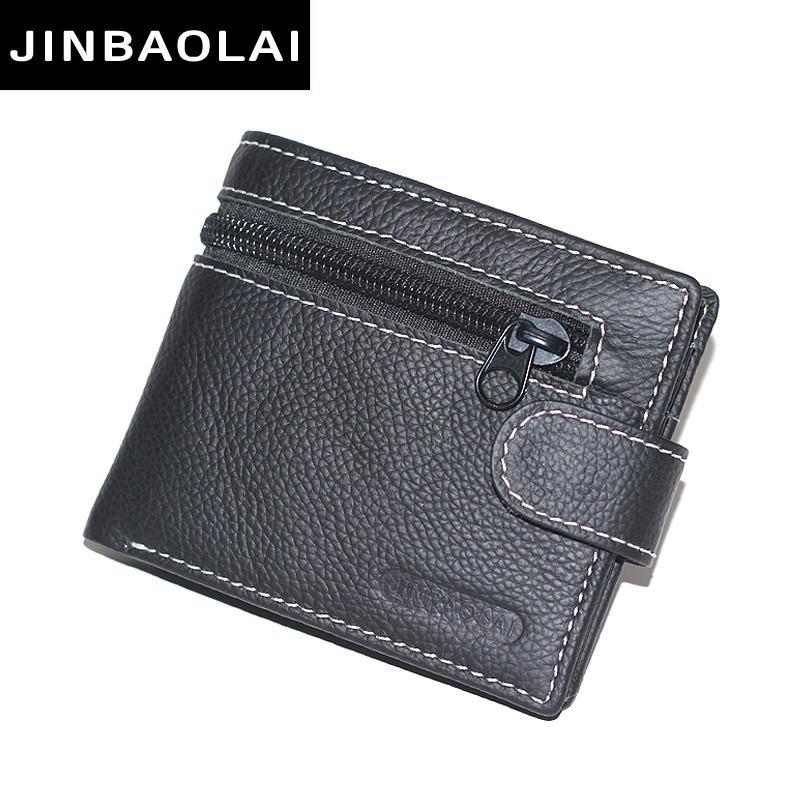 Jinbaolai Marke Brieftasche Männer Echtes Leder-männer Geldbörsen Geldbörse Kurz Männlichen Leder Brieftasche Männer Geld Tasche Qualitätsgarantie Carteira Herrentaschen