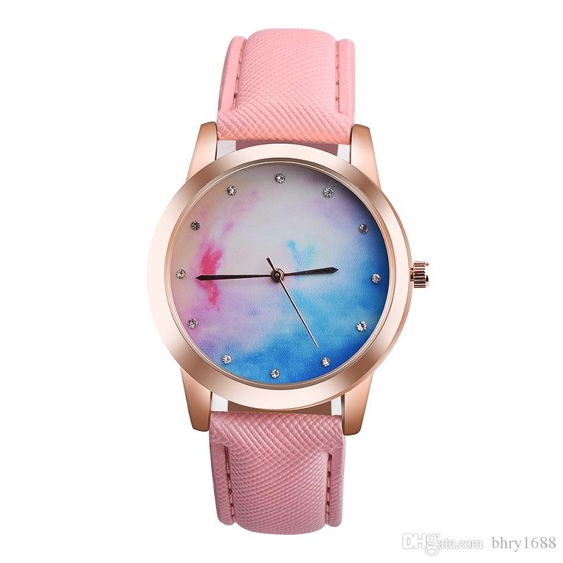 Moda cielo mujer reloj al por mayor azul rosa doble color de cuero relojes casual ladies vestido simple diamante relojes de cuarzo