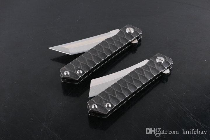 En Yeni TwoSun Tanto Blade Klon TC4 Titanyum Sap D2 Blade Rulmanlar Hızlı Açık Açılış Cep Av Açık Katlama Bıçak Araçları