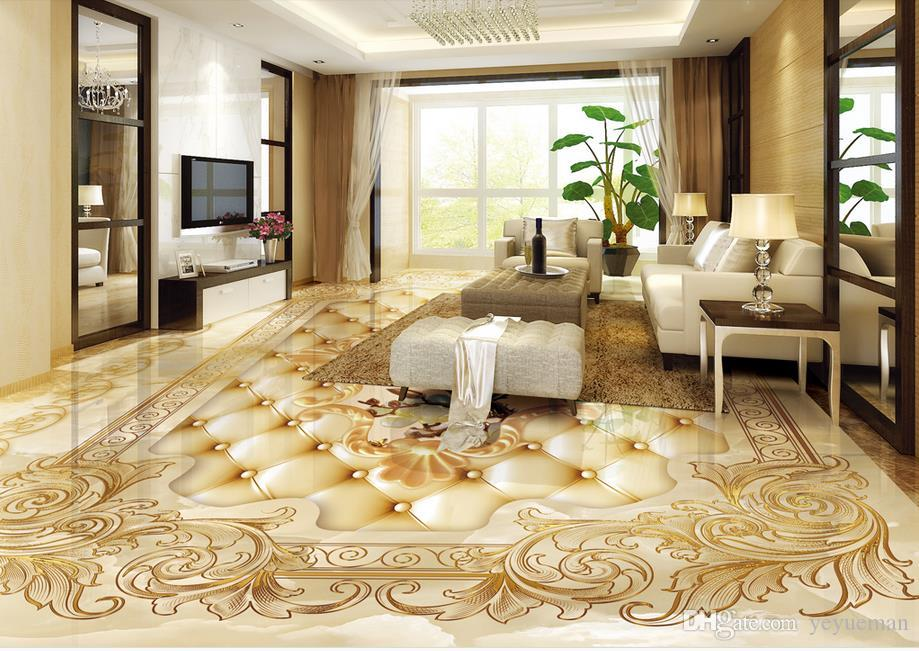 3d Floor Wallpaper Marble Parquet Rose Wallpapers For Living Room Customize 3d Stereoscopic 3d