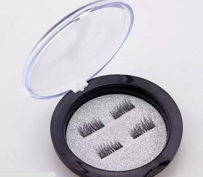 3D 가짜 속눈썹 더블 마그네틱 래시닝 아이 메이크업 터치 소프트웨어 착용감이없는 마그네틱 속눈썹 일상 생활에 완벽한 = 1 쌍