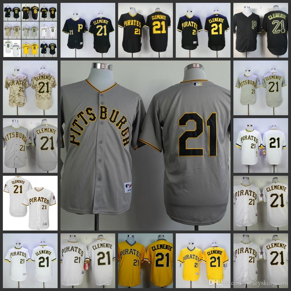 53d81a308 ... where can i buy 2017 mens pittsburgh pirates 21 roberto clemente  baseball jersey black white yellow