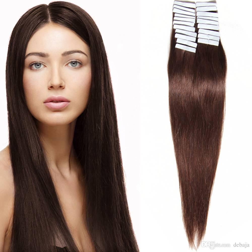 Glue Skin Weft Pu Tape In Human Hair Extensions Blonde Brown Black