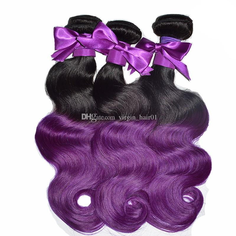 Ombre Color Hair Human 1B Purple Hair Bundles Two Tone Brazilian Peruvian Indian Malaysian Unprocessed Body Wave Hair Bundles