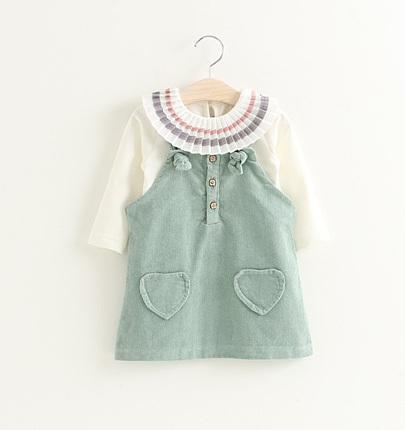 efff14ce3c 2019 Little Girls Corduroy Suspender Dresses Set Autumn 2018 Kids Spring  Boutique Clothing Girls Long Sleeves Set From Cutebabykids