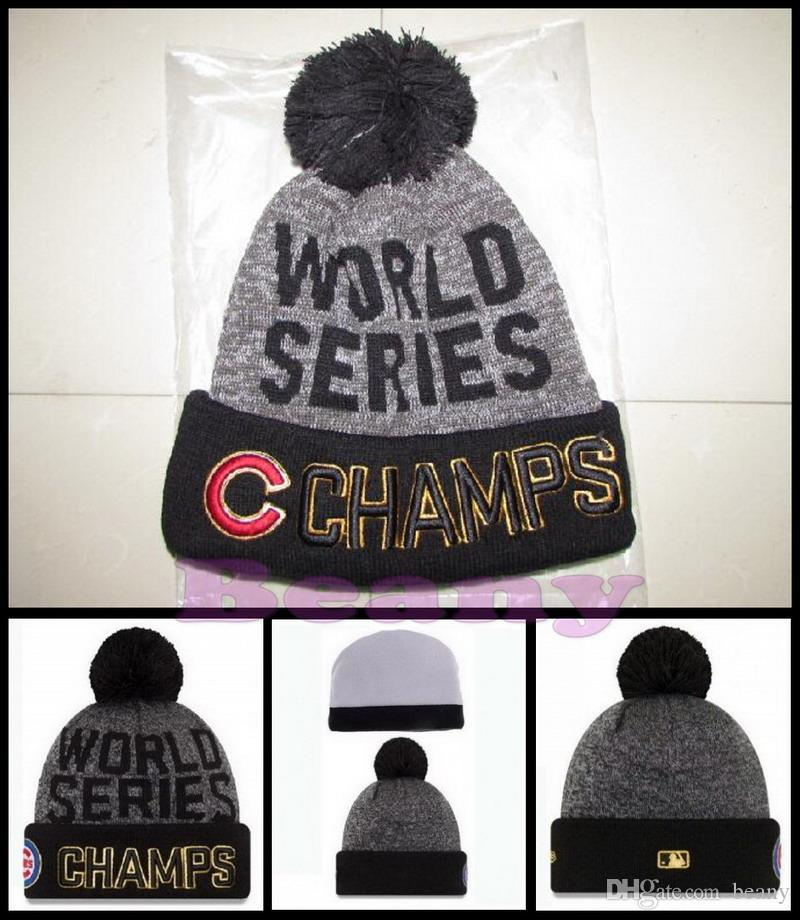 New Chicago Cubs Beanie Champs Pom Knit Hats World Series Champion Caps For  Men Women Winter Wool Beanies DHL Slouchy Beanie Skull Cap From Beany c9daea0bebd