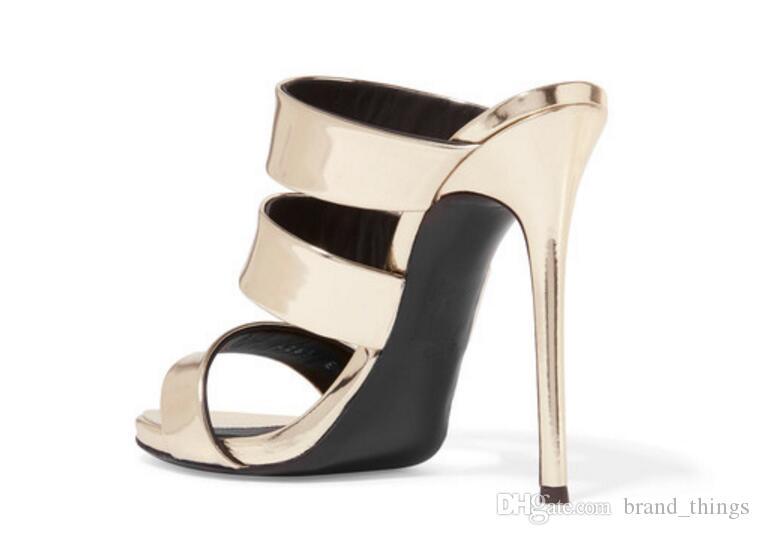 2017 Гладиатор сандалии золотой высокие каблуки мода летняя обувь дамы насосы тонкий каблук слайды сандалии партия обувь fretwork каблук