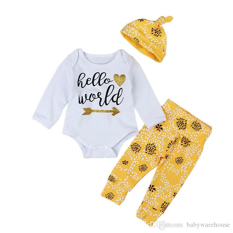 10c36254aa4f 2019 Newborn Baby Outfits 2018 Cotton Baby Clothes Sets Long Sleeve Hello  World Tops Romper Pants Hat Cute Boutique Boys Girls Clothing Set From ...