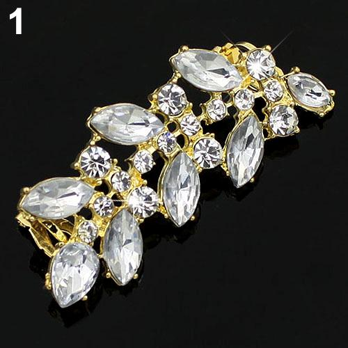 Klassischer Entwurf Punk Style Crystal Clip Ohrringe Strass Blätter Ohr Manschette 5UGH 6SCJ 7IZ3