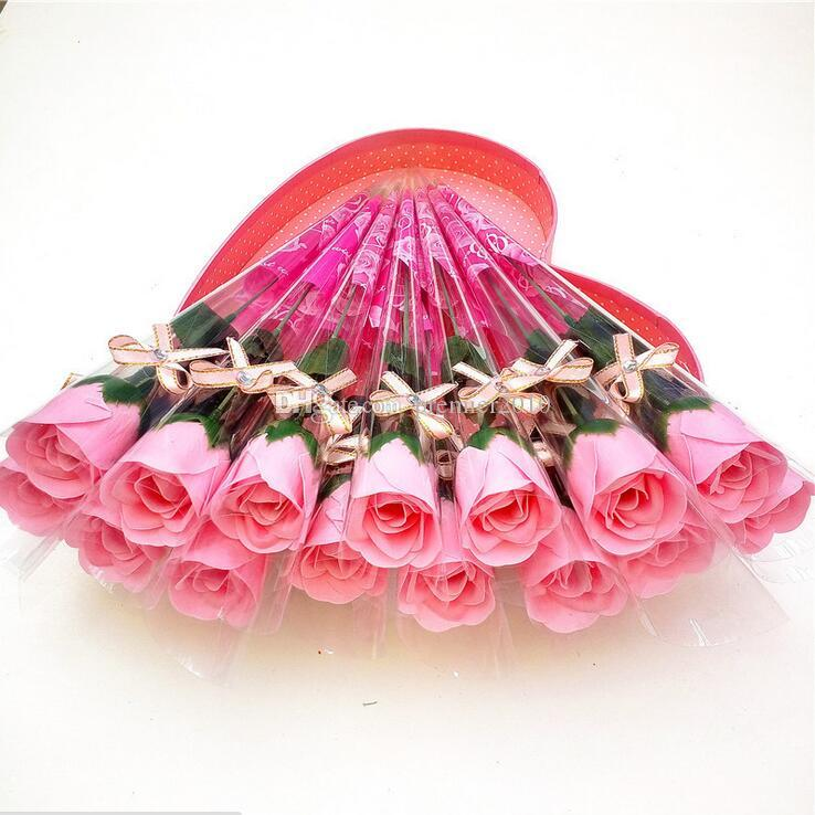 Simulated Single Rose Soap Flower Creative Soap Decorative Flower Wreaths Practical Valentine 's Day Gift Event & Party Supplies
