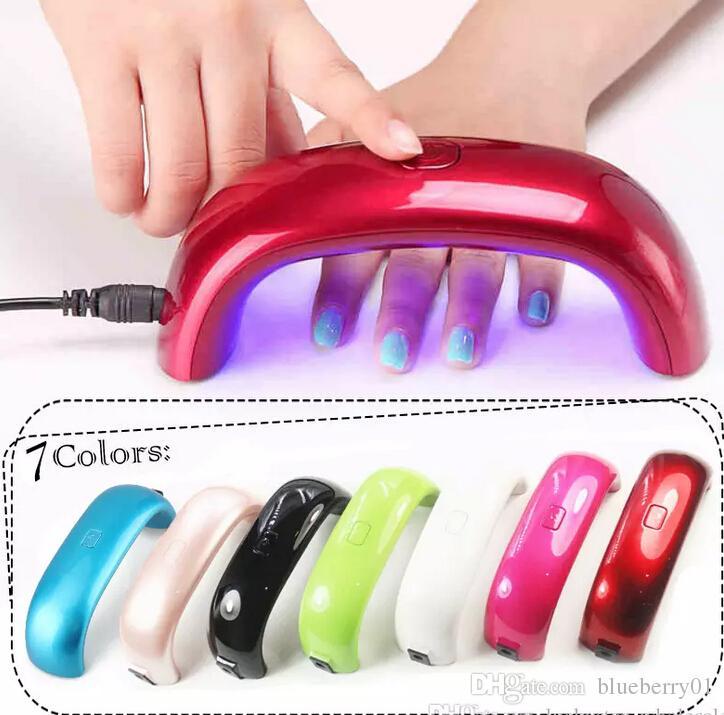 Séchoirs à ongles 9W LED Mini lampe de durcissement portable Rainbow Shaped Machine pour le gel UV Nail Polish Art Tools Mini Dryer