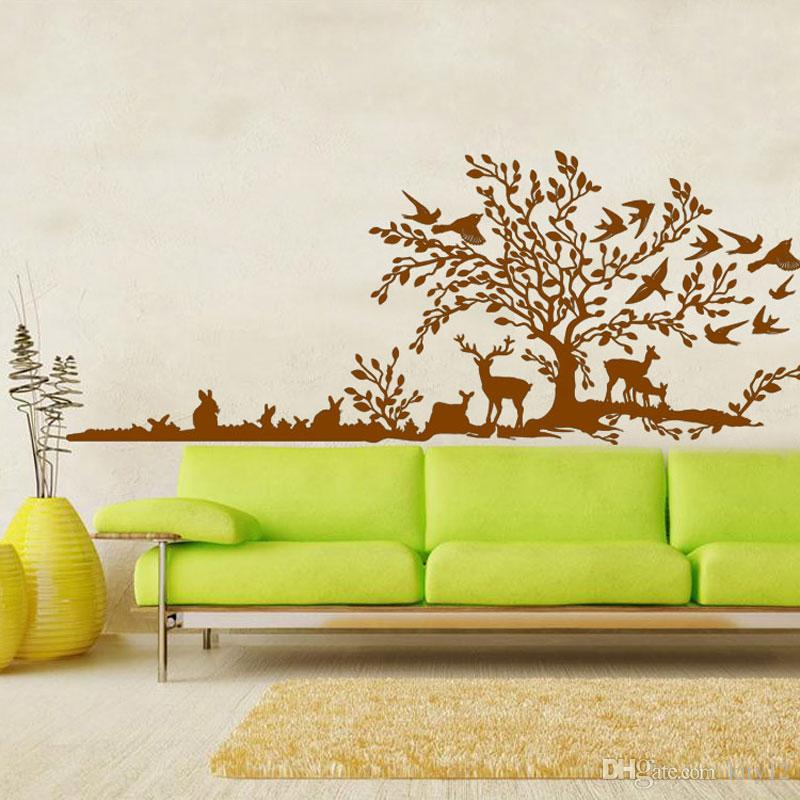 Forest Tree Animal Cartoon Bird Deer Wall Stickers For Kids Rooms Children Bedroom Home Decor