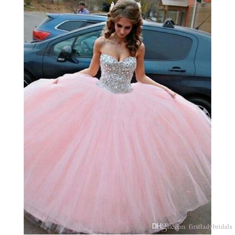 2017 Beaded Crystals Pink Quinceanera Dresses Tulle Sweetheart Ball ...