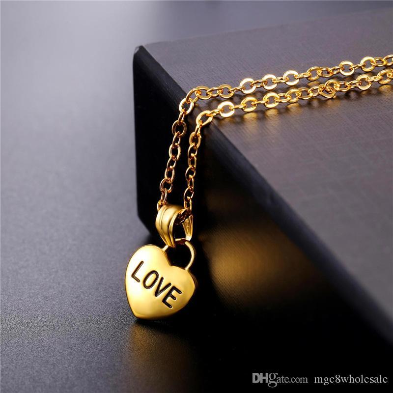 U7 Liebesstück Herz Schlüssel Anhänger Halskette für Frauen Mode Vergoldet / Edelstahl Schmuck Perfekte Romantische Zubehör GP2492