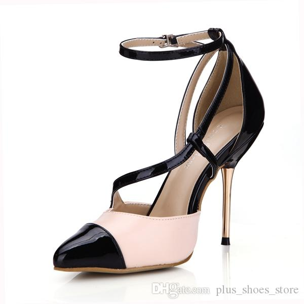 Réel Robe Chaussures 2017 Pompes Sangle Boucle Bout Pointu Haut Talon Mince Dames Chaussures De Soirée Image Réel Sandales Sexy Nouveau