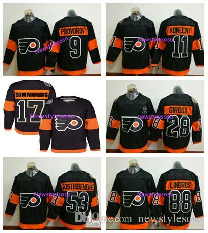 b54070a35 2017 Stadium Series Premier Jersey Philadelphia Flyers  53 Shayne  Gostisbehere  11 Travis Konecny  9 Ivan Provorov  28 Claude Giroux Hockey 2017  Stadium ...