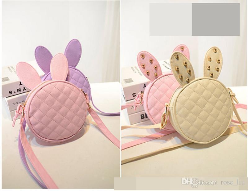 6 renk Yeni stil çocuk kız çocuklar moda omuz çantası perçin tavşan kulakları wrap kız moda çanta XT