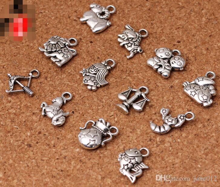 12 sinais do zodíaco pingentes encantos Tibetan prata dois faces delicados acessórios para fazer diy jóias fazendo