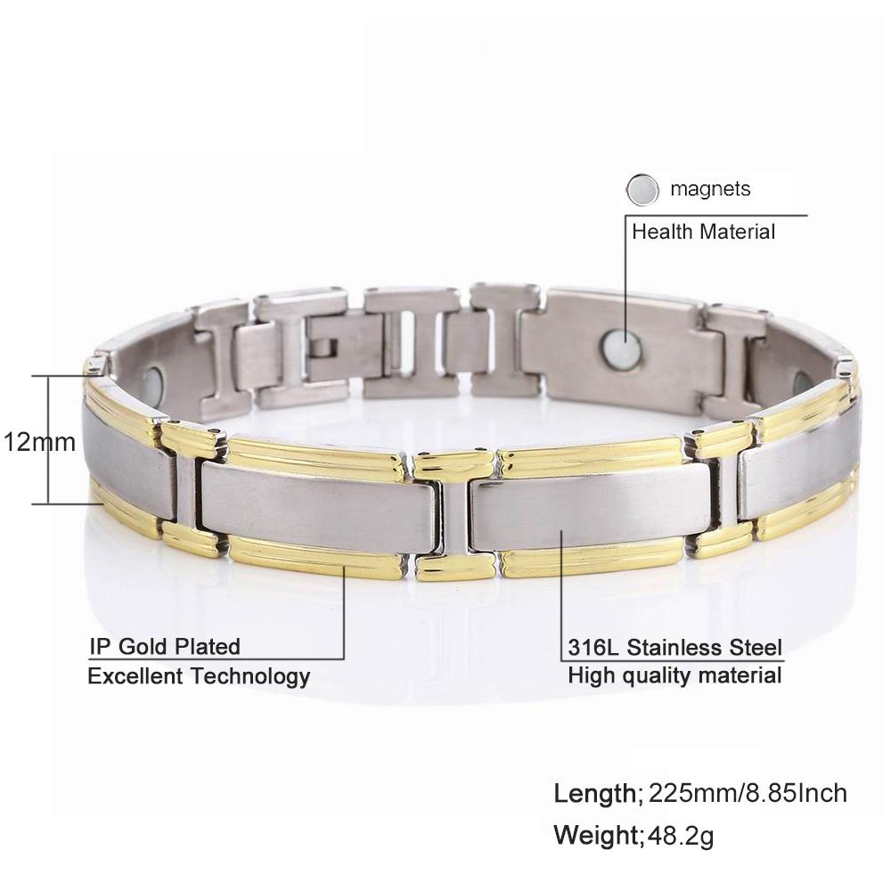 Mens Jewelry Accessories Silver Plated Outdoor sports Bracelets Anti-fatigue Energy Stainless Steel Bracelets & Bangle Gift Male Hand Chain