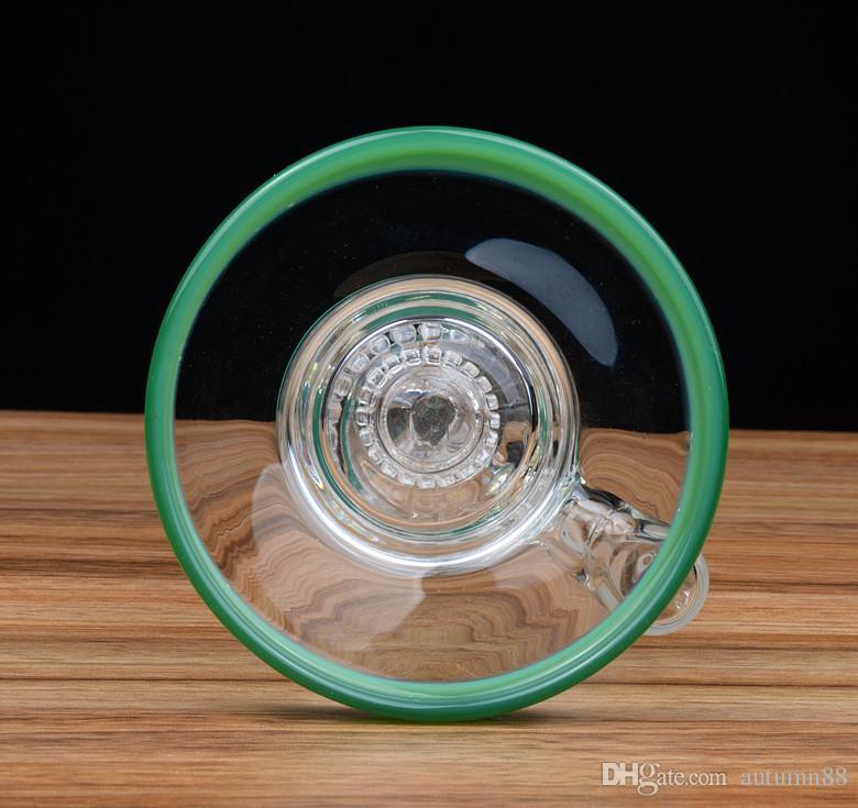 Jadegrünglasrohre bunte Wasserbongs berauschende Recyclerölanlagen tupfen Schüsselglasbubblerquarznagel-Bienenwabenpercgelenk 14mm groß 26cm