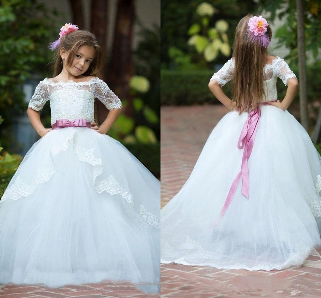 New White Lace Tulle Flower Girls Dresses Bateau Half Sleeves Girls Pageant Dresses Tiered Ruffle Sash Custom Made Cupcake Dress
