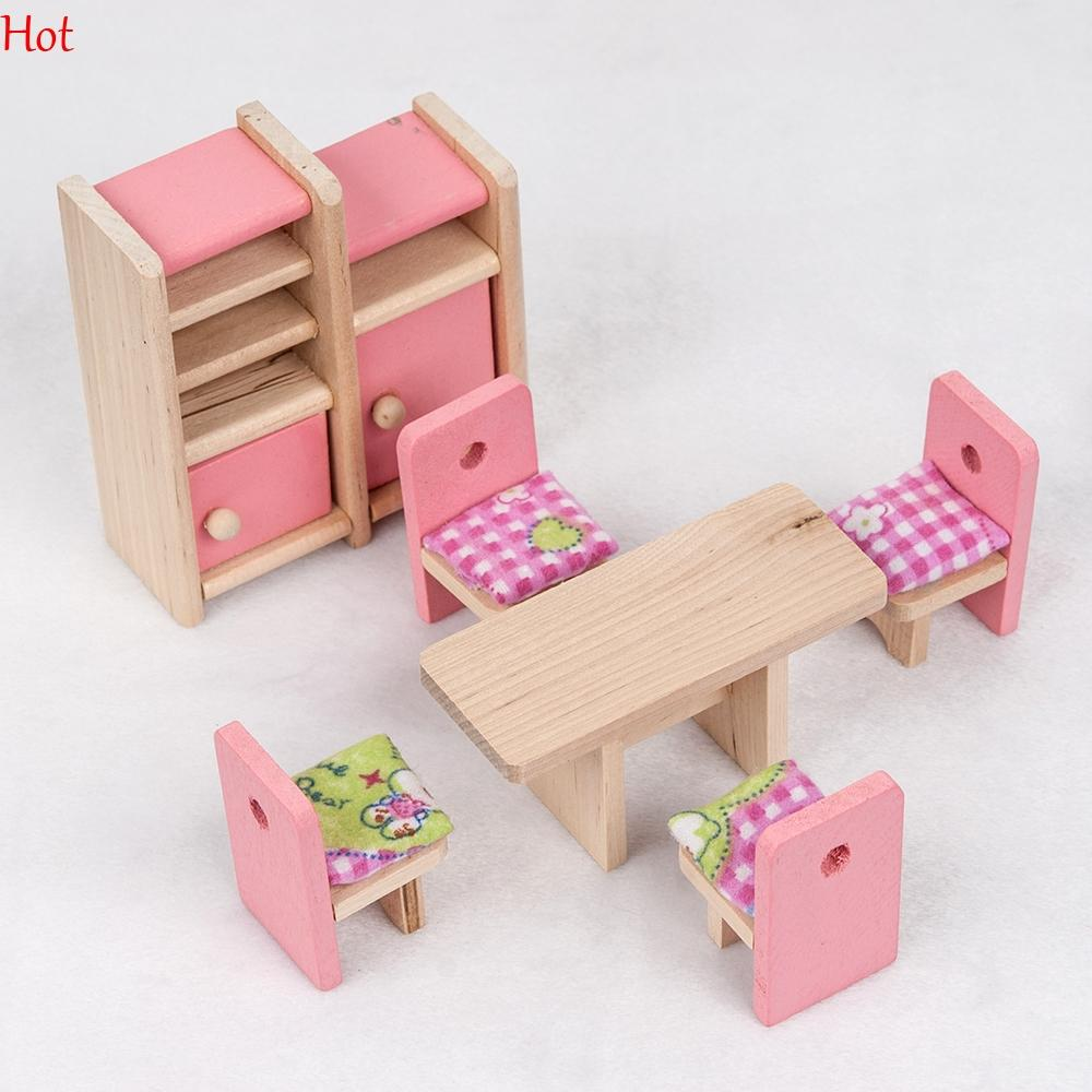Pink Wooden Dinning Dolls House Furniture Room Dollhouse Miniature